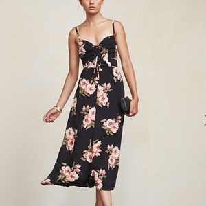 RARE Reformation Black Floral Corsica Dress
